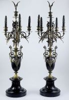 French pair of Bronze Black Marble and Slate Candelabras 1860s - US $ 3000.00