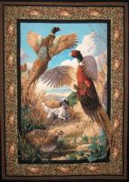 Pheasants and Quail Quilted Wall Hanging - US $ 16.99